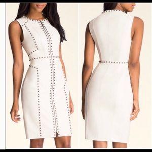 BEBE white 100% leather studded midi dress S